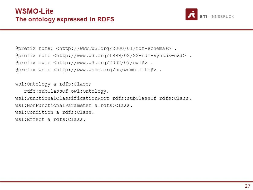 27 WSMO-Lite The ontology expressed in RDFS @prefix rdfs:.