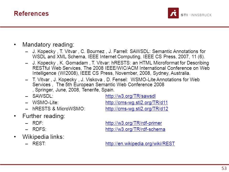53 References Mandatory reading: –J. Kopecky, T. Vitvar, C.