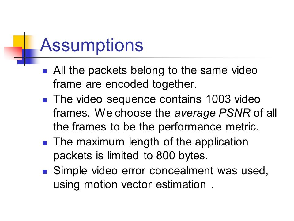 Assumptions All the packets belong to the same video frame are encoded together. The video sequence contains 1003 video frames. We choose the average