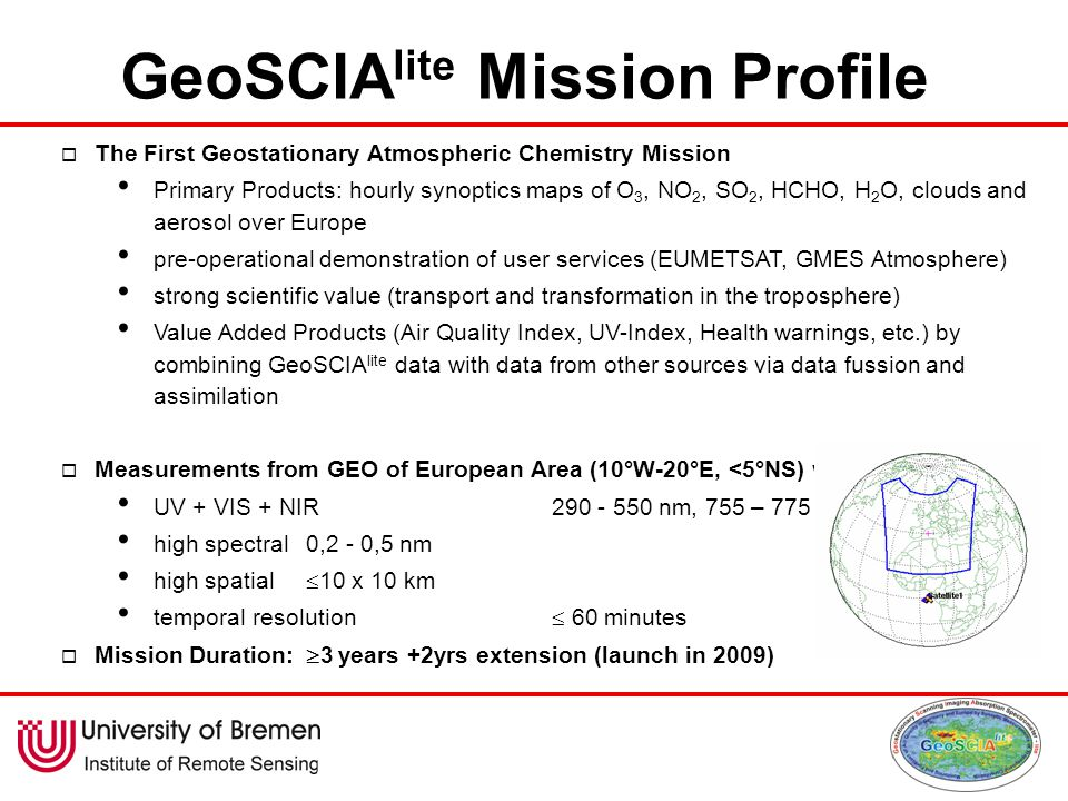 GeoSCIA lite Mission Profile  The First Geostationary Atmospheric Chemistry Mission Primary Products: hourly synoptics maps of O 3, NO 2, SO 2, HCHO, H 2 O, clouds and aerosol over Europe pre-operational demonstration of user services (EUMETSAT, GMES Atmosphere) strong scientific value (transport and transformation in the troposphere) Value Added Products (Air Quality Index, UV-Index, Health warnings, etc.) by combining GeoSCIA lite data with data from other sources via data fussion and assimilation  Measurements from GEO of European Area (10°W-20°E, <5°NS) with UV + VIS + NIR290 - 550 nm, 755 – 775 nm high spectral0,2 - 0,5 nm high spatial  10 x 10 km temporal resolution  60 minutes  Mission Duration:  3 years +2yrs extension (launch in 2009)