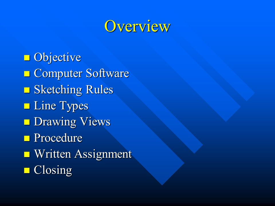 Overview Objective Objective Computer Software Computer Software Sketching Rules Sketching Rules Line Types Line Types Drawing Views Drawing Views Pro