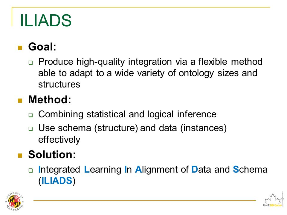 ILIADS Goal:  Produce high-quality integration via a flexible method able to adapt to a wide variety of ontology sizes and structures Method:  Combining statistical and logical inference  Use schema (structure) and data (instances) effectively Solution:  Integrated Learning In Alignment of Data and Schema (ILIADS)