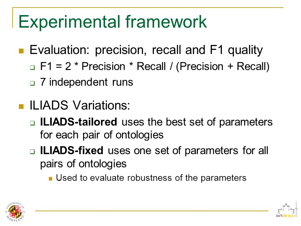 Experimental framework Evaluation: precision, recall and F1 quality  F1 = 2 * Precision * Recall / (Precision + Recall)  7 independent runs ILIADS Variations:  ILIADS-tailored uses the best set of parameters for each pair of ontologies  ILIADS-fixed uses one set of parameters for all pairs of ontologies Used to evaluate robustness of the parameters