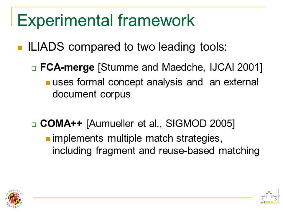 Experimental framework ILIADS compared to two leading tools:  FCA-merge [Stumme and Maedche, IJCAI 2001] uses formal concept analysis and an external document corpus  COMA++ [Aumueller et al., SIGMOD 2005] implements multiple match strategies, including fragment and reuse-based matching