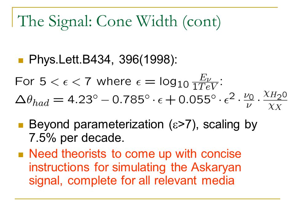 The Signal: Cone Width (cont) Phys.Lett.B434, 396(1998): Beyond parameterization (  >7), scaling by 7.5% per decade.