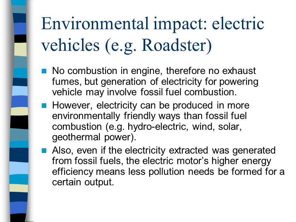 Environmental impact: electric vehicles (e.g.
