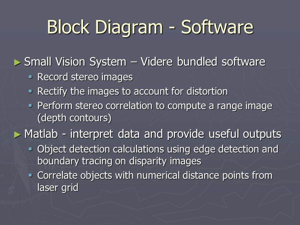 Block Diagram - Software ► Small Vision System – Videre bundled software  Record stereo images  Rectify the images to account for distortion  Perform stereo correlation to compute a range image (depth contours) ► Matlab - interpret data and provide useful outputs  Object detection calculations using edge detection and boundary tracing on disparity images  Correlate objects with numerical distance points from laser grid