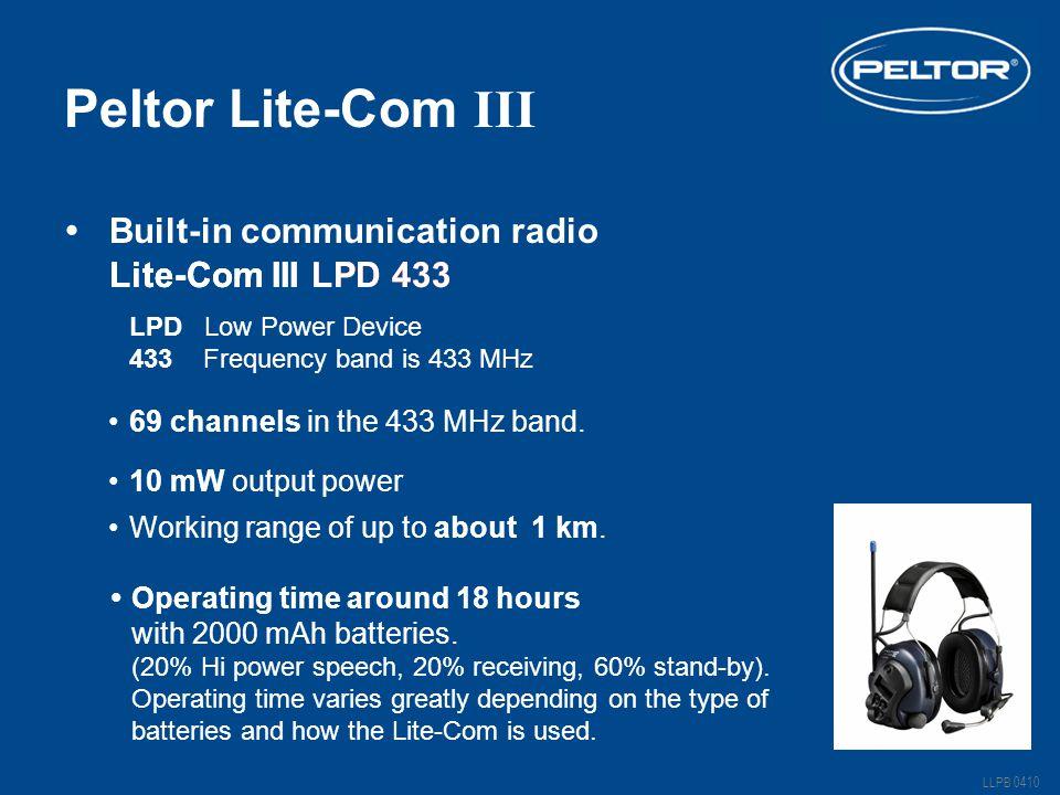 Peltor Lite-Com III Lite-Com III LPD 433 Working range of up to about 1 km.