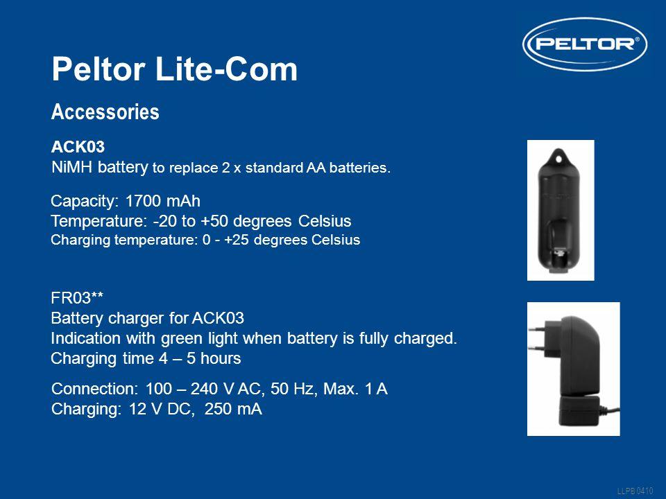 Peltor Lite-Com LLPB 0410 Accessories ACK03 NiMH battery to replace 2 x standard AA batteries.