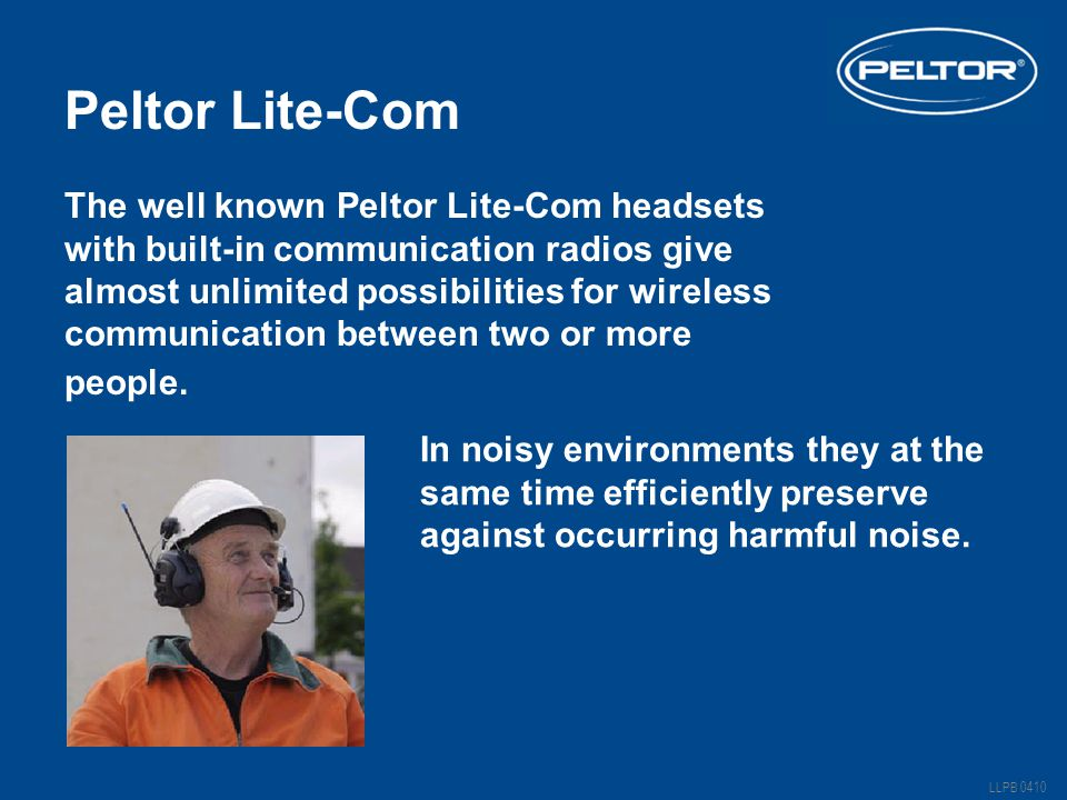 Peltor Lite-Com The well known Peltor Lite-Com headsets with built-in communication radios give almost unlimited possibilities for wireless communication between two or more people.