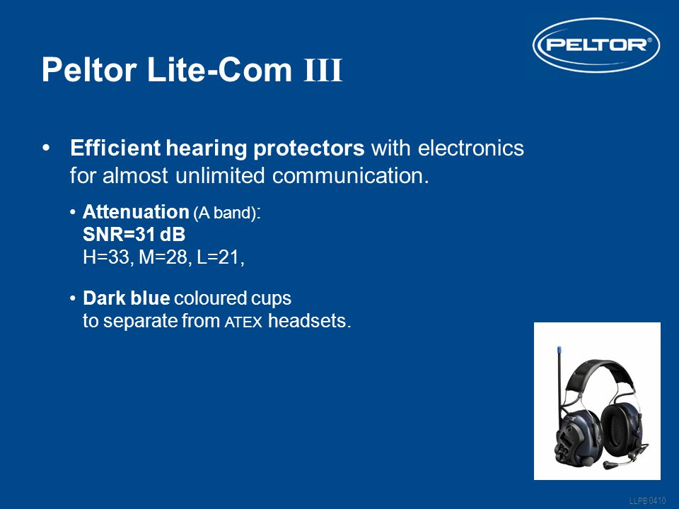 Peltor Lite-Com III Dark blue coloured cups to separate from ATEX headsets.