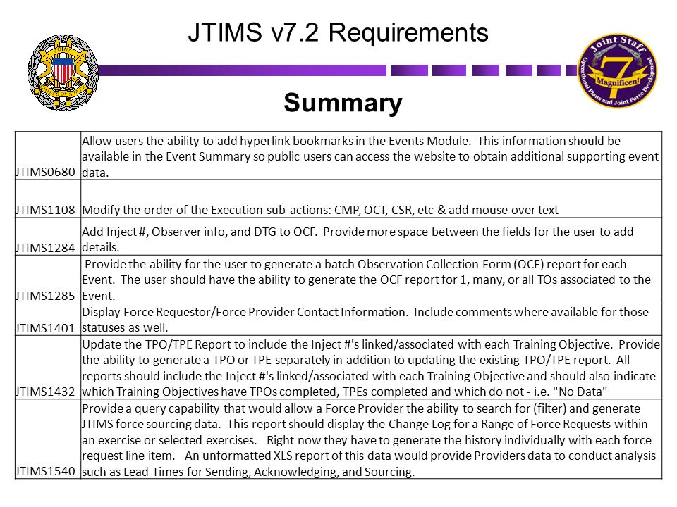 JTIMS v7.2 Requirements JTIMS0680 Allow users the ability to add hyperlink bookmarks in the Events Module. This information should be available in the