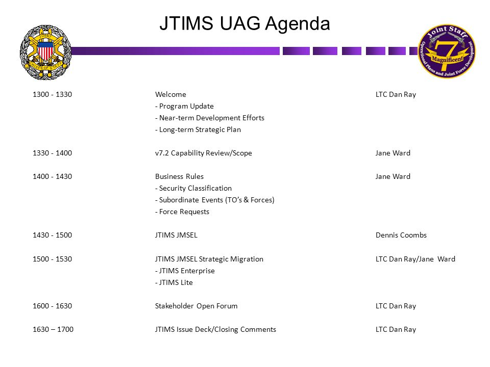 JTIMS supports the Joint Training System (JTS) KEY FACTS  Key Stakeholders – COCOMs, CSAs, JS, OSD, NGB, Services, Coalition Partners  Enables/Enhances the four phases of the JTS – Requirements, Plans, Execution, and Assessment  Over 5,000 unique users  Over 4,500 Joint Training Events managed  Enterprise version available on the SIPRNet and NIPRNET  Offline version available to support disconnect scenarios – JTIMS Lite  Key Stakeholders – COCOMs, CSAs, JS, OSD, NGB, Services, Coalition Partners  Enables/Enhances the four phases of the JTS – Requirements, Plans, Execution, and Assessment  Over 5,000 unique users  Over 4,500 Joint Training Events managed  Enterprise version available on the SIPRNet and NIPRNET  Offline version available to support disconnect scenarios – JTIMS Lite 3 JTIMS Login Page JTIMS Home Page