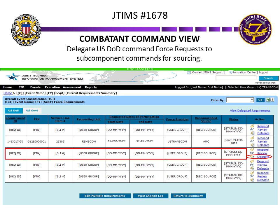 COMBATANT COMMAND VIEW Delegate US DoD command Force Requests to subcomponent commands for sourcing.