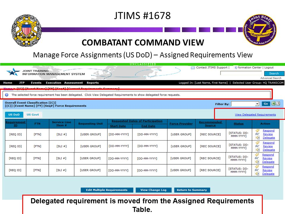 COMBATANT COMMAND VIEW Manage Force Assignments (US DoD) – Assigned Requirements View JTIMS #1678 Delegated requirement is moved from the Assigned Req