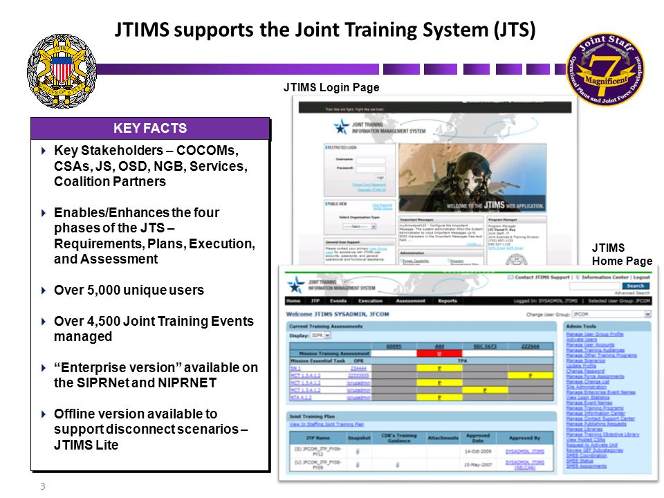 JTIMS Data Integrations JTIMS System-of-Systems Integrations KEY INTEGRATIONS  DRRS – consume METL; share training assessments  JCRM – share force requests  UTDT – consume UJTL tasks  JLLIS – share observations; search lessons learned  TREX –share Event and TO data  DRRS – consume METL; share training assessments  JCRM – share force requests  UTDT – consume UJTL tasks  JLLIS – share observations; search lessons learned  TREX –share Event and TO data INTEGRATION BENEFITS  Duplicate data entry eliminated  Enhanced data quality for reports  Reduced manual entry  Duplicate data entry eliminated  Enhanced data quality for reports  Reduced manual entry 4