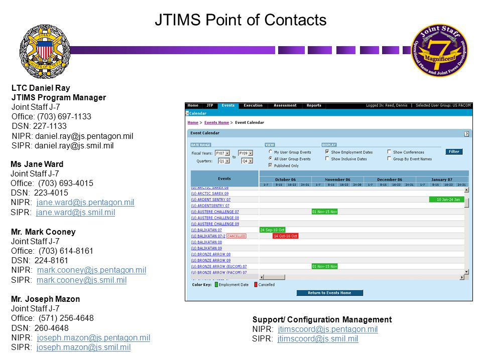 JTIMS Point of Contacts LTC Daniel Ray JTIMS Program Manager Joint Staff J-7 Office: (703) 697-1133 DSN: 227-1133 NIPR: daniel.ray@js.pentagon.mil SIP