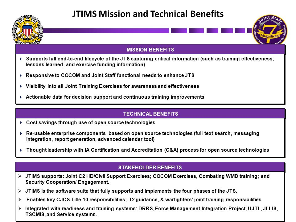 JTIMS Point of Contacts LTC Daniel Ray JTIMS Program Manager Joint Staff J-7 Office: (703) 697-1133 DSN: 227-1133 NIPR: daniel.ray@js.pentagon.mil SIPR: daniel.ray@js.smil.mil Ms Jane Ward Joint Staff J-7 Office: (703) 693-4015 DSN: 223-4015 NIPR: jane.ward@js.pentagon.mil SIPR: jane.ward@js.smil.mil Support/ Configuration Management NIPR: jtimscoord@js.pentagon.mil SIPR: jtimscoord@js.smil.mil Mr.