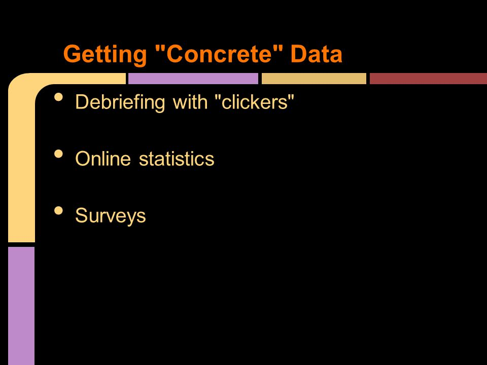Debriefing with clickers Online statistics Surveys Getting Concrete Data