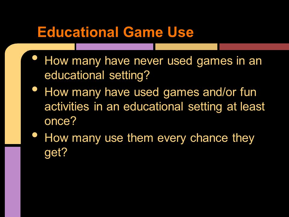 How many have never used games in an educational setting.