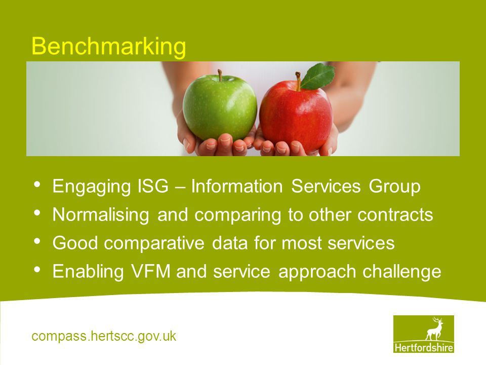 compass.hertscc.gov.uk Benchmarking Engaging ISG – Information Services Group Normalising and comparing to other contracts Good comparative data for m