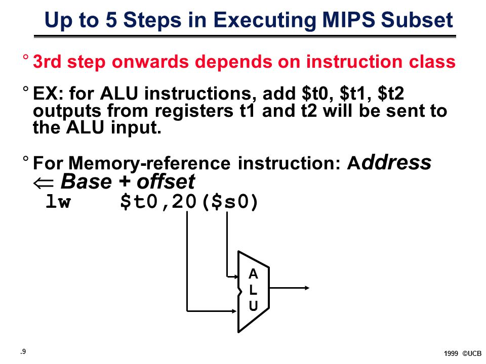 .9 1999 ©UCB Up to 5 Steps in Executing MIPS Subset °3rd step onwards depends on instruction class °EX: for ALU instructions, add $t0, $t1, $t2 output