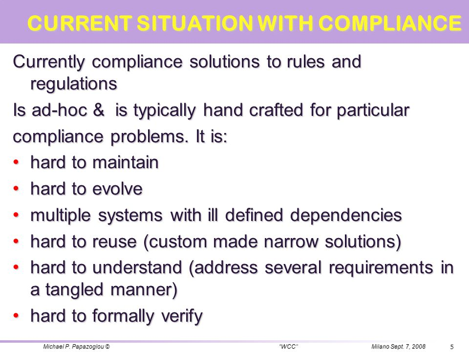 CURRENT SITUATION WITH COMPLIANCE Currently compliance solutions to rules and regulations Is ad-hoc & is typically hand crafted for particular complia