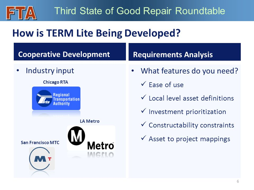 Third State of Good Repair Roundtable What features do you need.