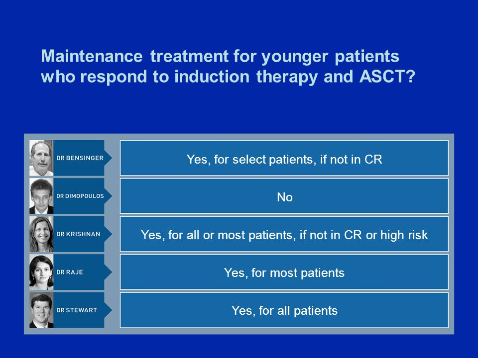 Maintenance treatment for younger patients who respond to induction therapy and ASCT.