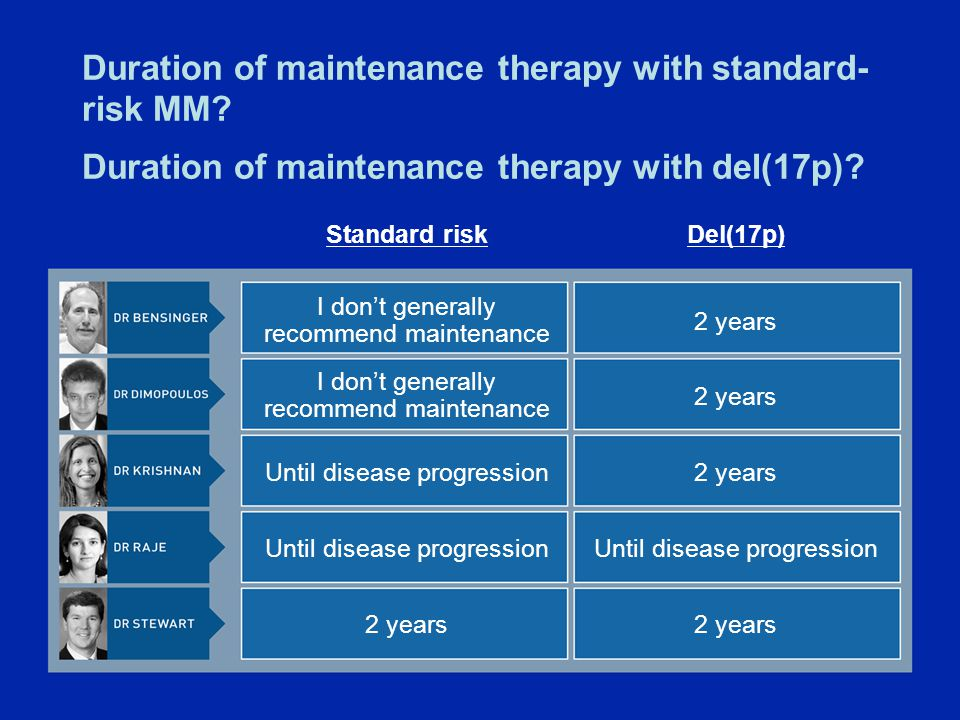 Duration of maintenance therapy with standard- risk MM.