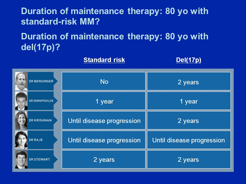 Duration of maintenance therapy: 80 yo with standard-risk MM.