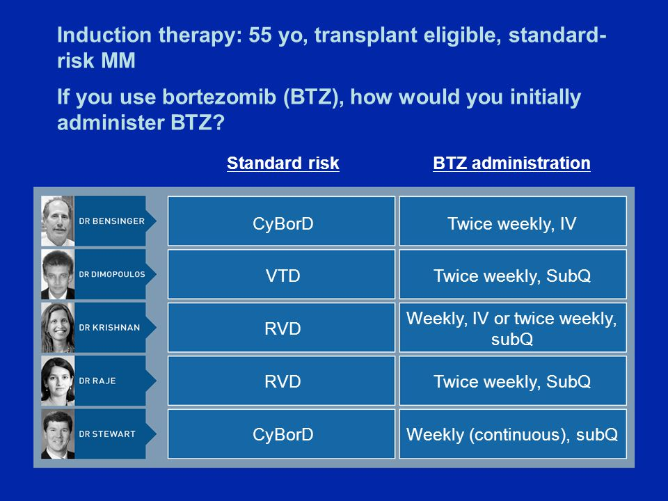 Induction therapy: 55 yo, transplant eligible, standard- risk MM If you use bortezomib (BTZ), how would you initially administer BTZ.