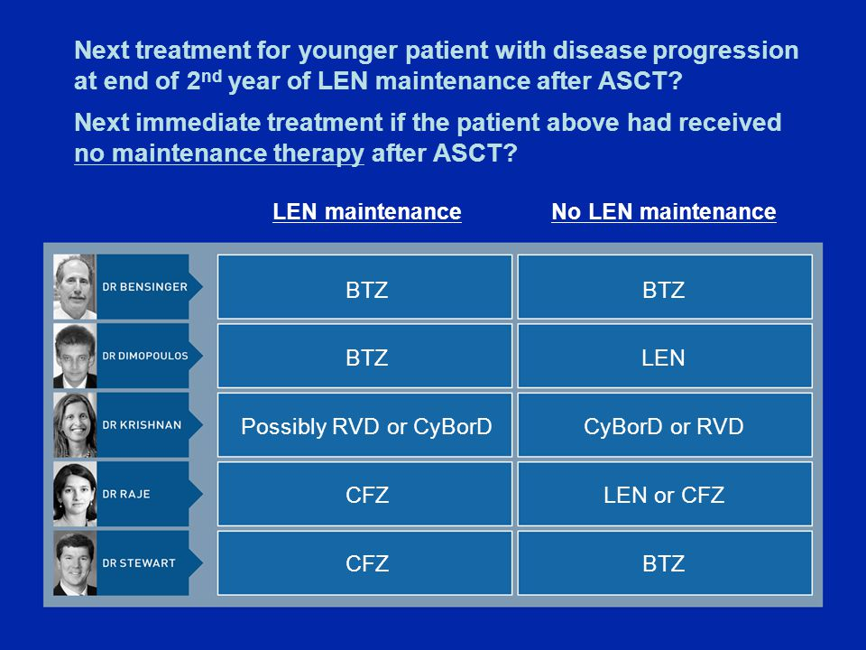 Next treatment for younger patient with disease progression at end of 2 nd year of LEN maintenance after ASCT.