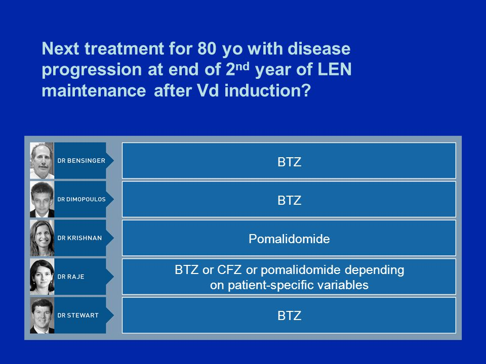 Next treatment for 80 yo with disease progression at end of 2 nd year of LEN maintenance after Vd induction.