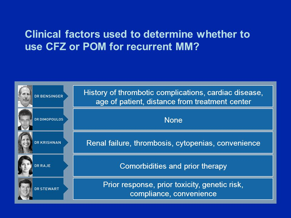 Clinical factors used to determine whether to use CFZ or POM for recurrent MM.