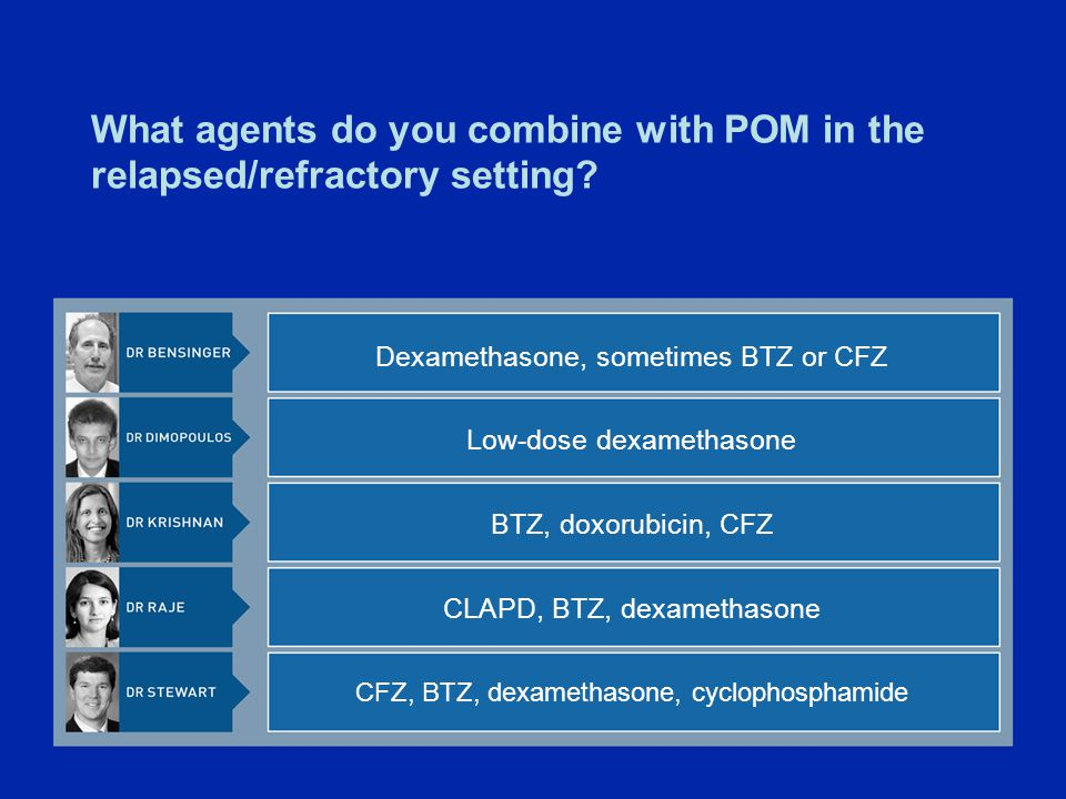What agents do you combine with POM in the relapsed/refractory setting.