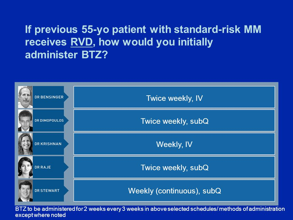 If previous 55-yo patient with standard-risk MM receives RVD, how would you initially administer BTZ.