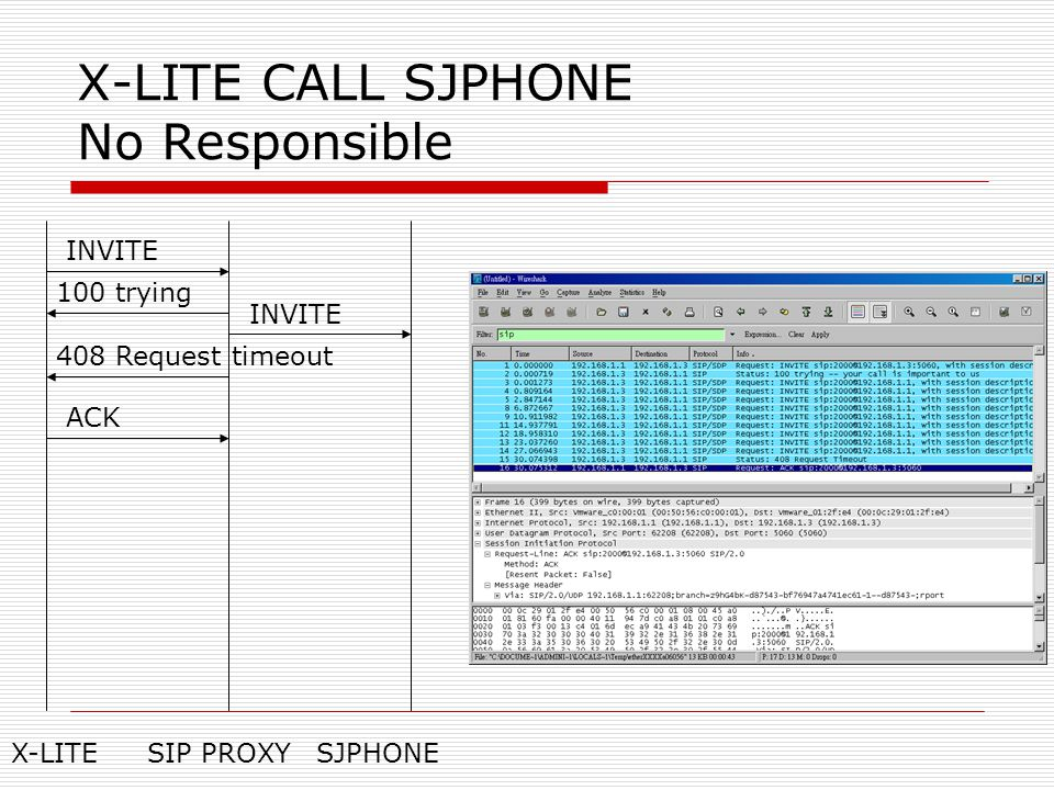 X-LITE CALL SJPHONE No Responsible INVITE 100 trying INVITE X-LITESIP PROXYSJPHONE 408 Request timeout ACK