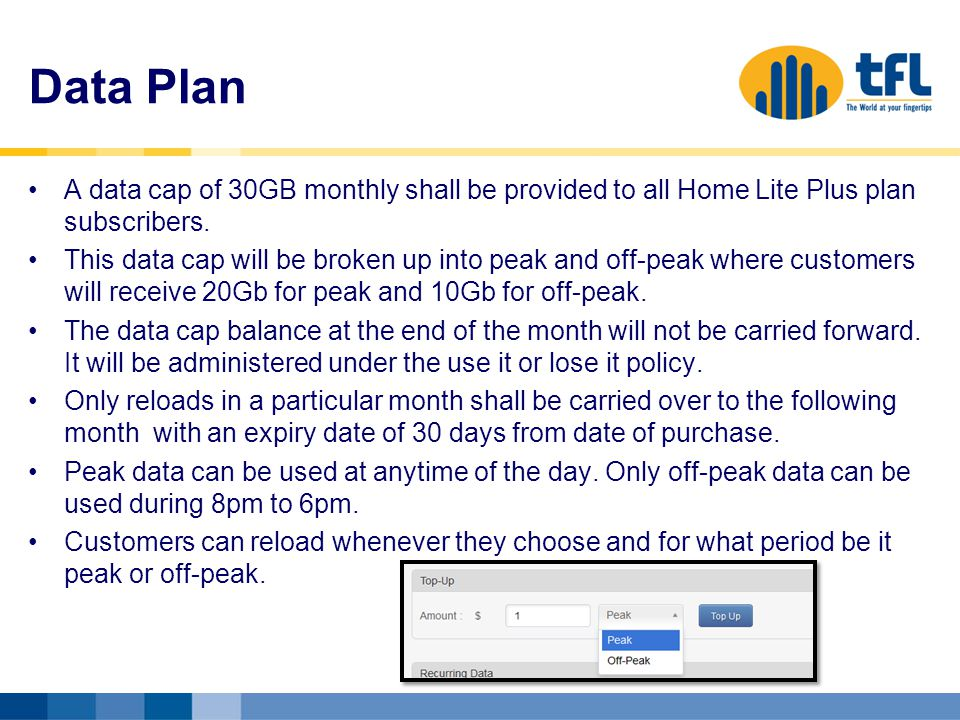 Data Plan A data cap of 30GB monthly shall be provided to all Home Lite Plus plan subscribers.