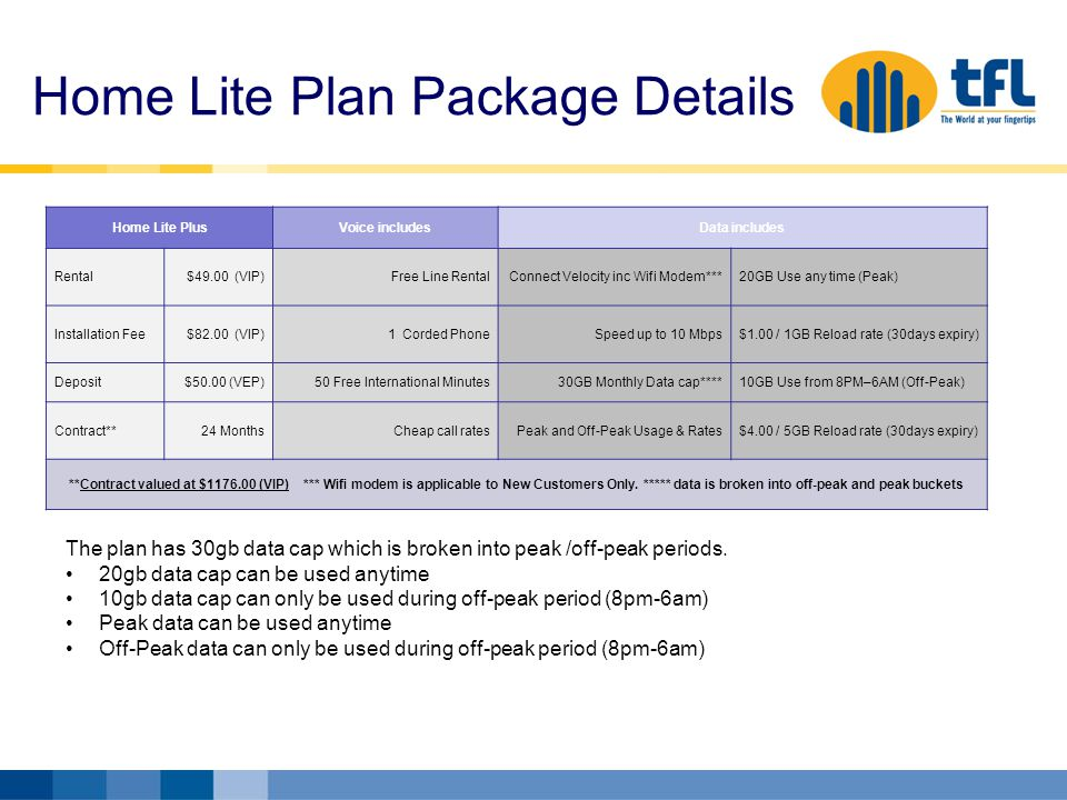 Home Lite Plan Package Details Home Lite PlusVoice includesData includes Rental$49.00 (VIP)Free Line RentalConnect Velocity inc Wifi Modem***20GB Use any time (Peak) Installation Fee$82.00 (VIP)1 Corded PhoneSpeed up to 10 Mbps$1.00 / 1GB Reload rate (30days expiry) Deposit$50.00 (VEP)50 Free International Minutes30GB Monthly Data cap****10GB Use from 8PM–6AM (Off-Peak) Contract**24 Months Cheap call rates Peak and Off-Peak Usage & Rates $4.00 / 5GB Reload rate (30days expiry) **Contract valued at $1176.00 (VIP) *** Wifi modem is applicable to New Customers Only.