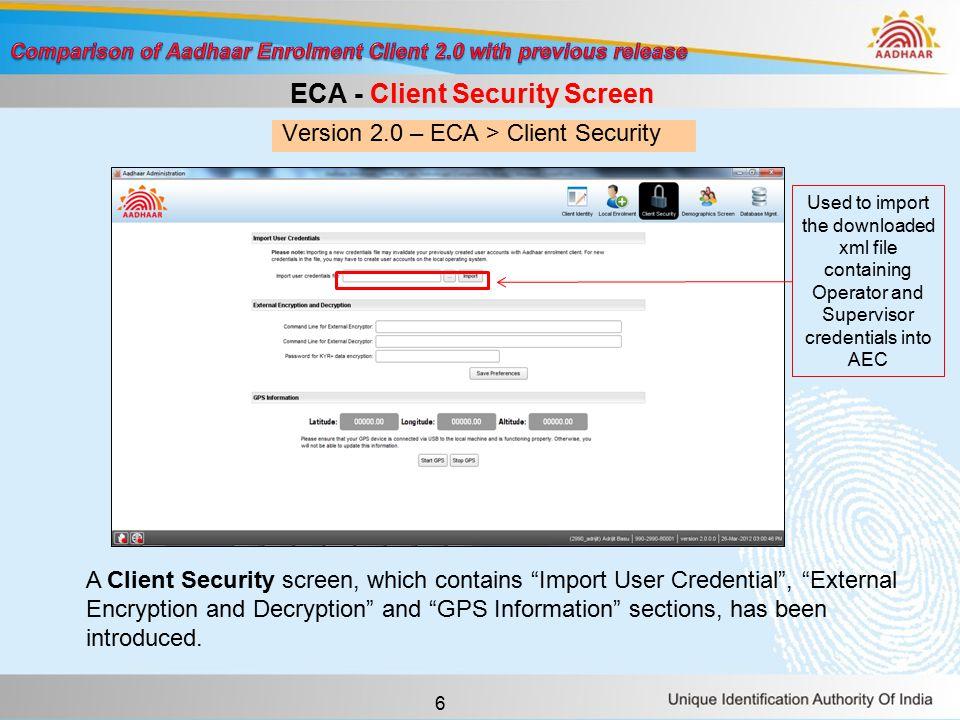 7 Version 1.5 – ECA > Database Mgmt.Version 2.0 – ECA > Database Mgmt.