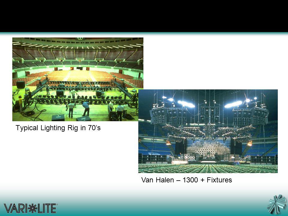 Typical Lighting Rig in 70's Van Halen – 1300 + Fixtures