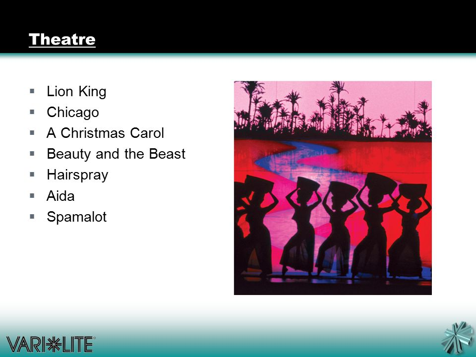Theatre  Lion King  Chicago  A Christmas Carol  Beauty and the Beast  Hairspray  Aida  Spamalot