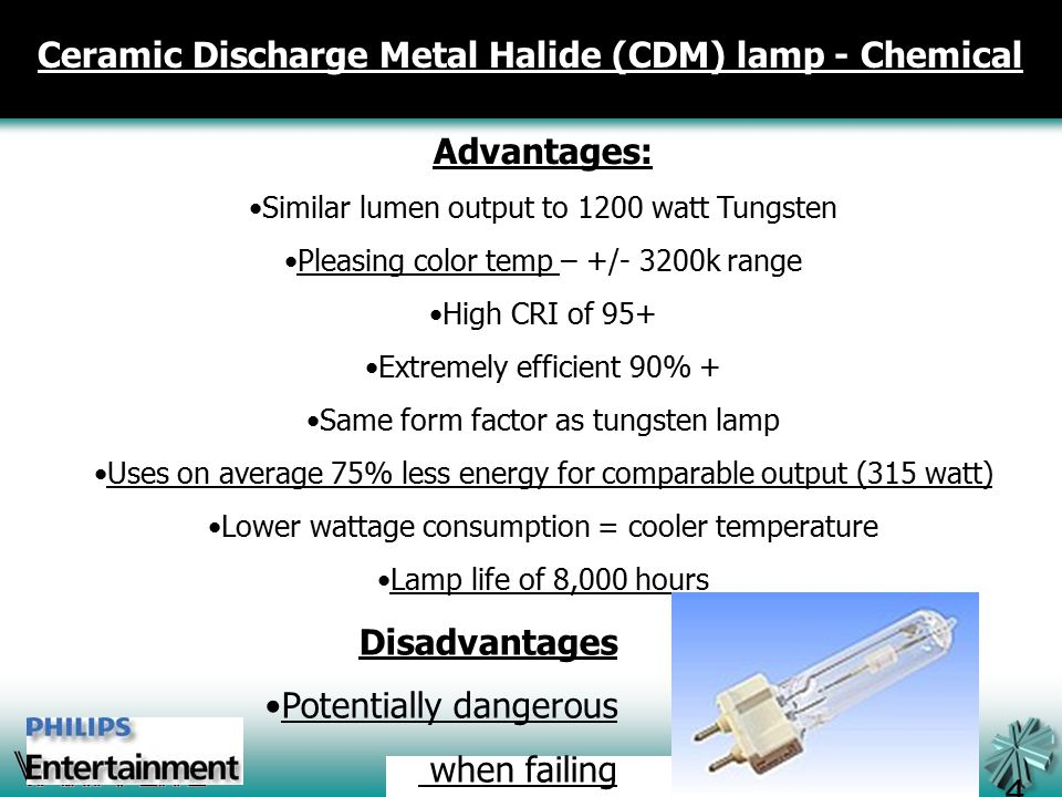Advantages: Similar lumen output to 1200 watt Tungsten Pleasing color temp – +/- 3200k range High CRI of 95+ Extremely efficient 90% + Same form factor as tungsten lamp Uses on average 75% less energy for comparable output (315 watt) Lower wattage consumption = cooler temperature Lamp life of 8,000 hours 49 Ceramic Discharge Metal Halide (CDM) lamp - Chemical Disadvantages Potentially dangerous when failing