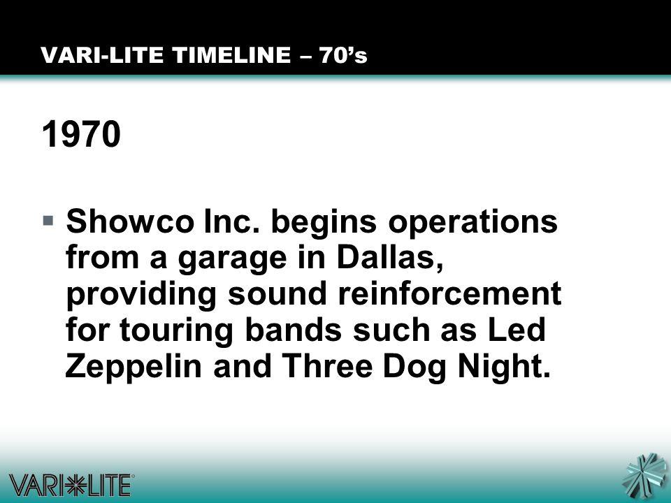 VARI-LITE TIMELINE – 70's 1970  Showco Inc.