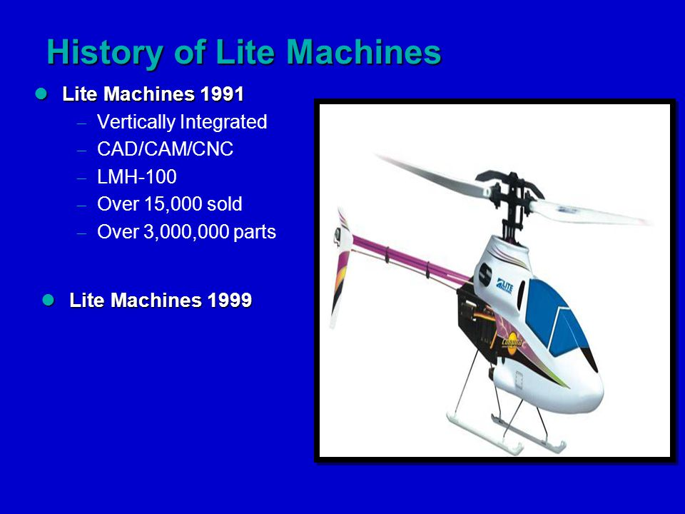 History of Lite Machines Lite Machines 1991 Lite Machines 1991  Vertically Integrated  CAD/CAM/CNC  LMH-100  Over 15,000 sold  Over 3,000,000 parts Lite Machines 1999 Lite Machines 1999
