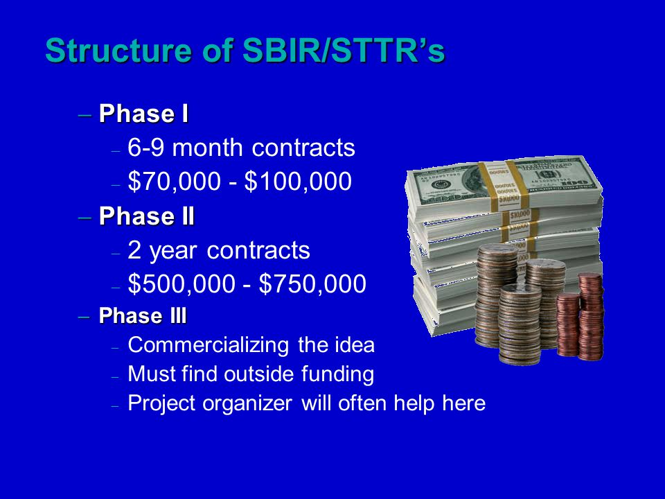  Phase I  6-9 month contracts  $70,000 - $100,000  Phase II  2 year contracts  $500,000 - $750,000  Phase III  Commercializing the idea  Must find outside funding  Project organizer will often help here Structure of SBIR/STTR's