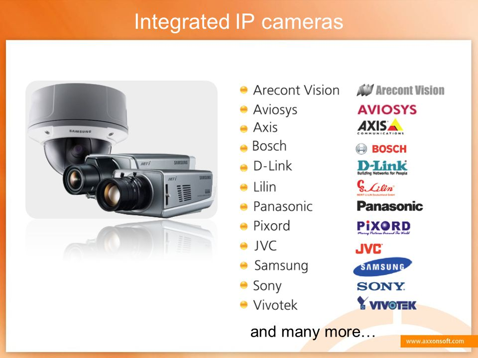 Integrated IP cameras and many more…