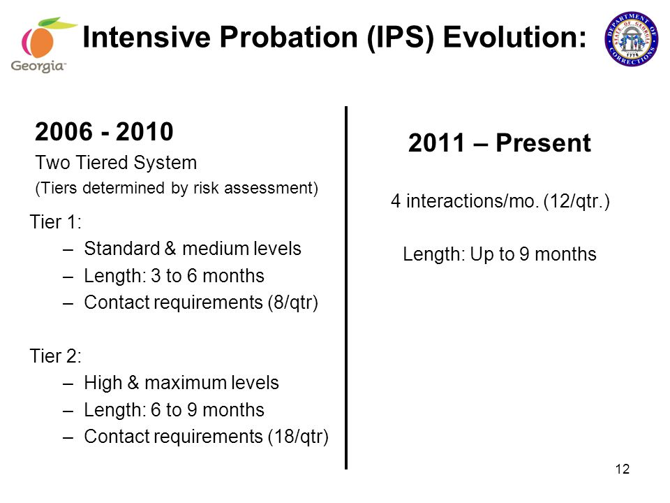 Intensive Probation (IPS) Evolution: Tier 1: –Standard & medium levels –Length: 3 to 6 months –Contact requirements (8/qtr) Tier 2: –High & maximum le