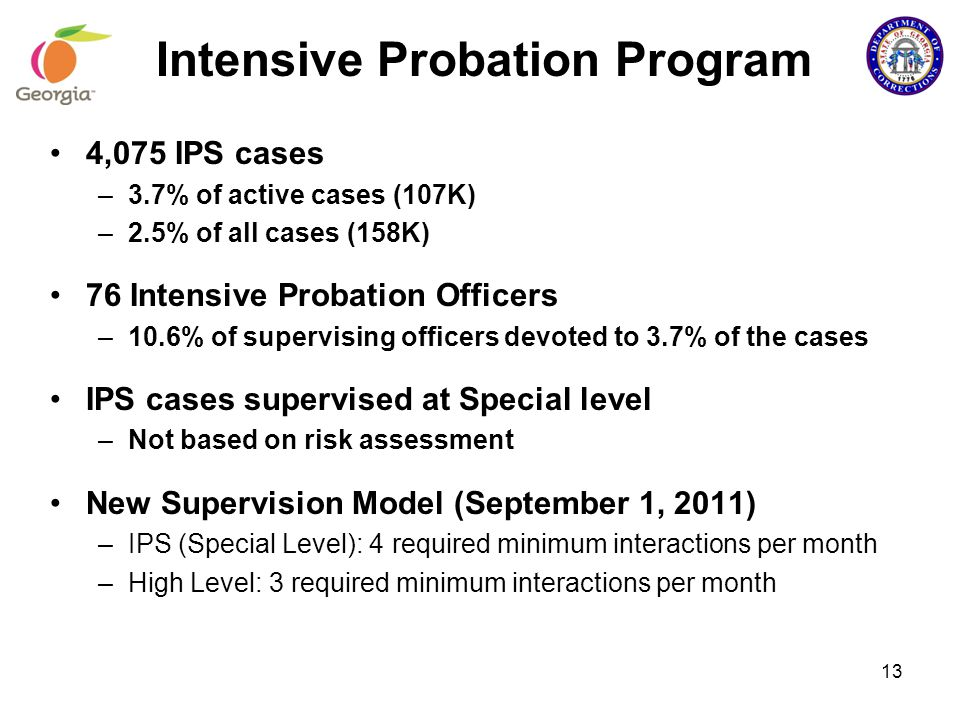 4,075 IPS cases –3.7% of active cases (107K) –2.5% of all cases (158K) 76 Intensive Probation Officers –10.6% of supervising officers devoted to 3.7%